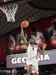 Bloomfield Hills High School graduate Yante Maten (1) soared to new heights as one of Georgia's all-time leading players.