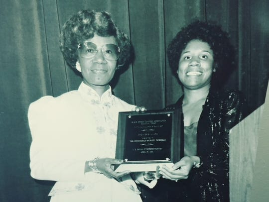 Rep. Sheila Jackson Lee with Shirley Chisholm.