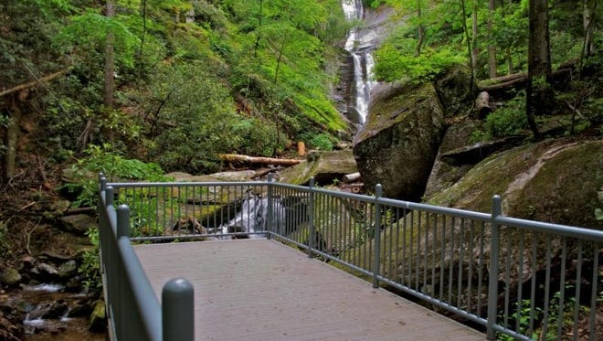 New observation deck at Toms Creek Falls near Marion in Pisgah National Forest.