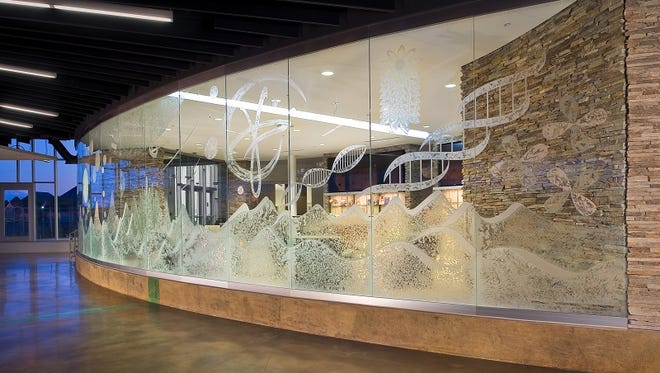 A glass work by Nancy Gong at the RIT Administrative Services Building.