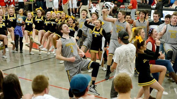 Anthony Westhusing (3) and the Tuscola boys celebrate Friday's win in Canton.