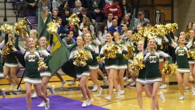 The Snow Canyon High School cheerleaders take the floor at the state competition Jan. 30 in Riverton High School.