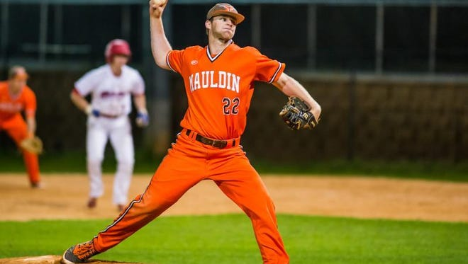 Conner Campbell (22) had two hits, scored the go-ahead run in the sixth, and got the save in Mauldin's 3-2 win at Riverside Friday night.