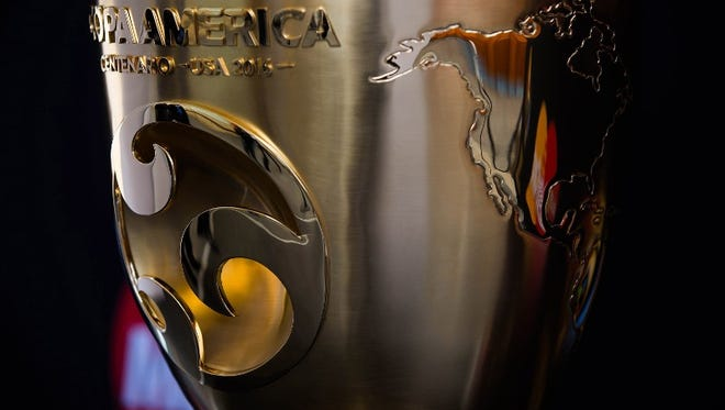 A view of the Copa America Centenario Trophy during the Trophy Tour in Mexico City, Mexico on May 28, 2016