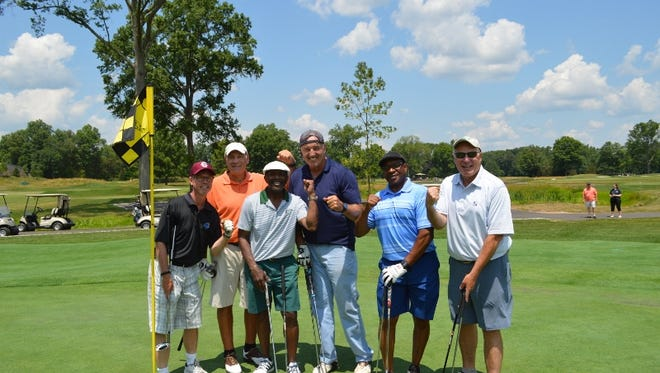 2018 Freedom House — Larry Grantham Charity Golf Classic. (Left to right) David Johnson, Angelo Valente, Bruce Harper, Gerry Cooney, Glenn King and Tony Palombini.