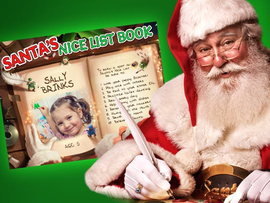 Amaze your loved one with a Personalized Nice List from Santa. Includes child's name & photo!