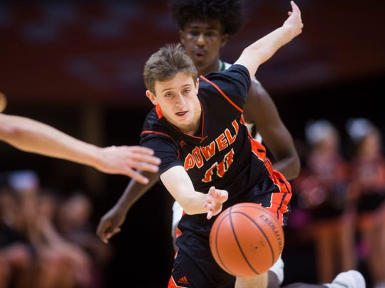 Powell High basketball player Cole Frost in action during the 2017 Knox County Schools Tennova Tip-Off classic in Thompson-Boling Arena Wednesday, Nov. 8, 2017.