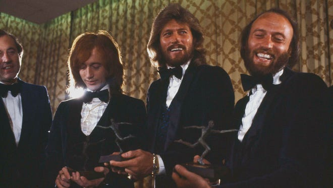 Robin, Barry and Maurice Gibb (left to right), collectively known as the Bee Gees, are pictured in New York, Feb. 8, 1979.