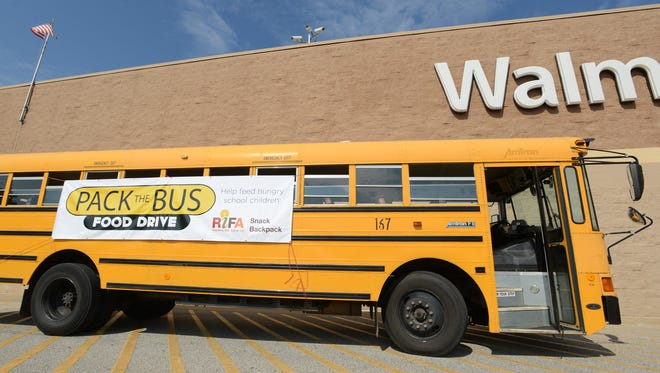 RIFA's 'Pack the Bus' food drive will help feed 720 elementary school children on the weekends this year. Donations were collected at Walmart North and South on Saturday and will be collected at RIFA throughout the year. Item needed include fruit cups in tin cans, granola bars and snack crackers among other things.