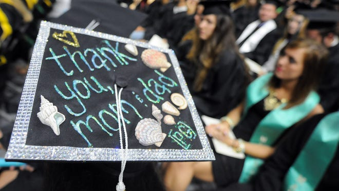 Graduate student Mourghan Mencio displayed a personal message to her parents on the top of her cap during graduation ceremonies at University of North Carolina Wilmington.