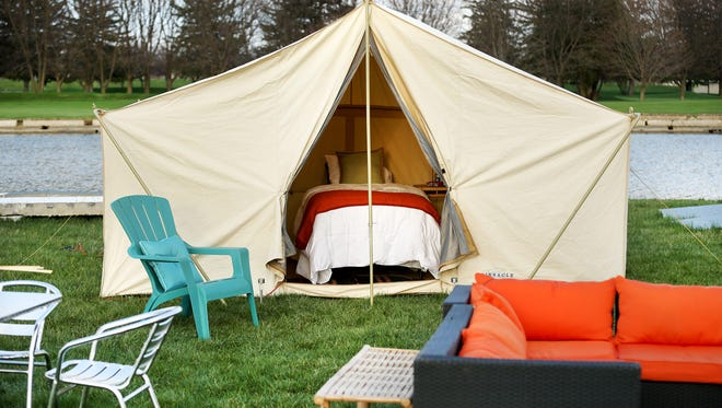 """A """"glamping"""" site at Indianapolis Motor Speedway will offer upscale amenities for campers at this year's events, May 22-26. Four-night packages range from $650-$1,100 per tent and include general admission tickets to race events."""