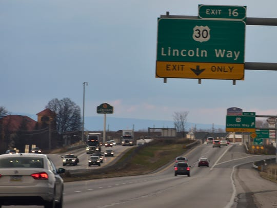 Traffic flows on Interstate 81 near exit 16 in Chambersburg,