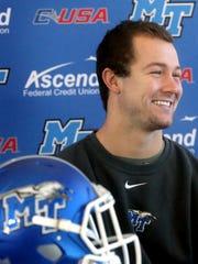 MTSU quarterback Brent Stockstill addresses the media
