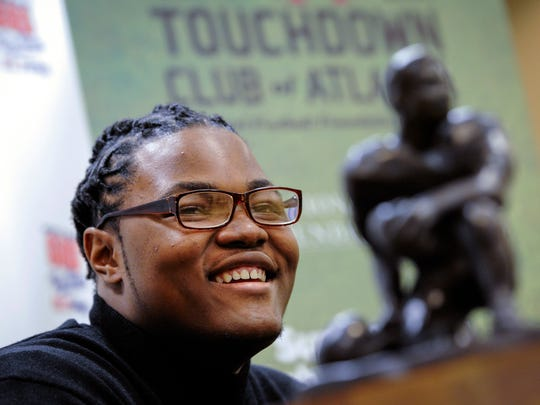 On Thursday, Rashan Gary talks to members of the media in Atlanta, while on hand to receive the Bobby Dodd national high school lineman of the year award at the Touchdown Club of Atlanta.
