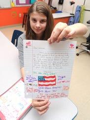 Makaela Ortiz, a sixth-grader at Bessie Allen Middle