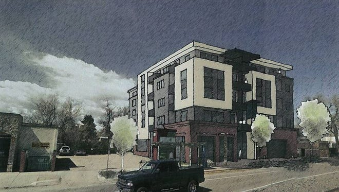 A preliminary sketch of what a proposed student housing project at Laurel and Mason street might look like.