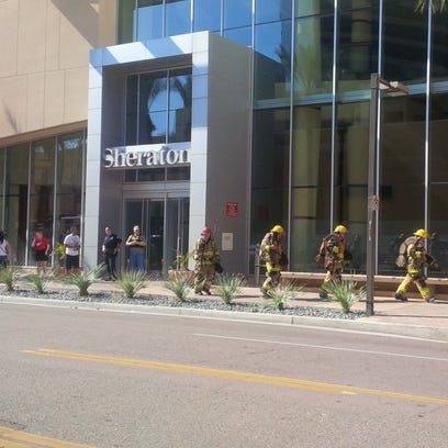 Firefighters at the scene at the Sheraton Downtown