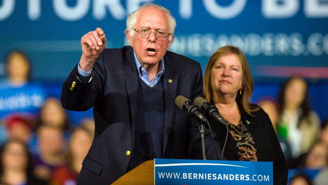 Democratic presidential hopeful Bernie Sanders with his wife, Jane Sanders, during a campaign stop during the Super Tuesday presidential primary election