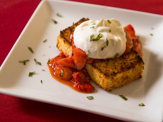 Grilled angel food cake with strawberry compote by Top Home Chef finalist Lynn Hooker, Wednesday, September 28, 2016.