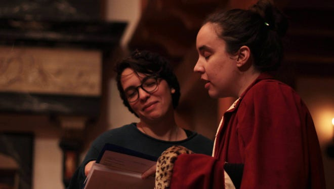 "Sophia Beratta and Claire Boyd work to memorize lines for ""Taming of the Show."" (without looking). Beratta and Boyd are both students in the Shakespeare and Performance Program at Mary Baldwin College."