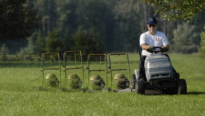 Can't talk: Mowing.