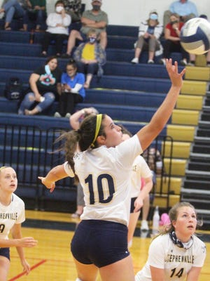 Stephenville junior Jaylee Matthews (10) returns a shot during Tuesday's volleyball victory over Salado in Gandy Gym.