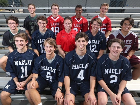 The All-Big Bend lacrosse first team. Front row, L-R: