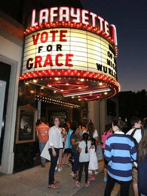 Fans of Grace VanderWaal gather together at the Lafayette Theater in Suffern to watch her in the finals of America's Got Talent Sept. 13, 2016.