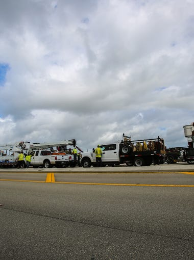 Emergency crews line up in Golden Gate Estates Monday, Sept. 11, 2017, to help clean up roads after Hurricane Irma hit.