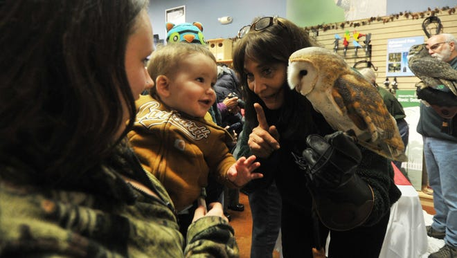 Raptor Education Group, Inc. executive director Marge Gibson, right, tells the differences about owls Saturday afternoon, Dec. 13, 2014, to patrons during a fundraiser for Raptor Education Group, Inc. at Wild Birds Unlimited in Rib Mountain.