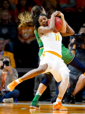 University of Tennessee's Diamond DeShields (11) battles for the ball against Notre Dame's Kathryn Westbeld (33) during a game between University of Tennessee and Notre Dame University at Thompson-Boling Arena in Knoxville, Tennessee on Monday, January 16, 2017.
