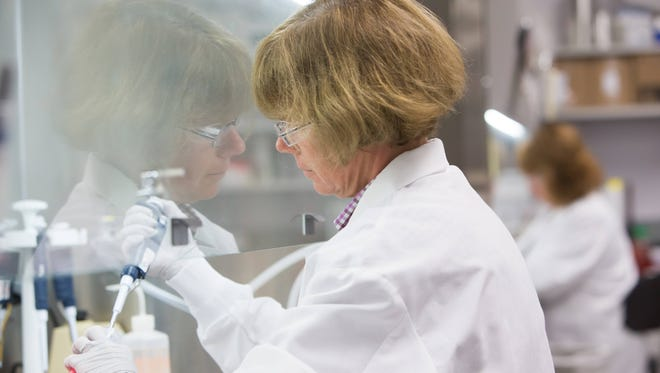 Research expert Karen Gallagher harvests human cells before counting them under a microscope inside the In Vitro Pharmacology lab at Incyte in Alapacos.