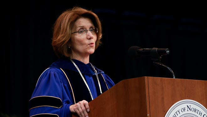 UNC Asheville Chancellor Mary K. Grant addresses the crowd at her installation earlier this year. Grant was among a dozen UNC system administrators getting a pay raise.