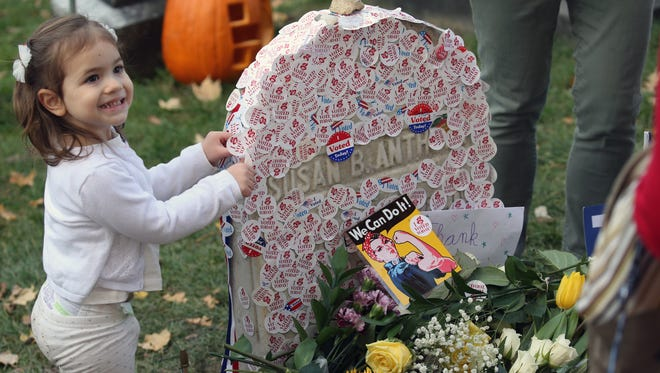 The Susan B. Anthony grave drew huge crowds on Election Day at Mt. Hope Cemetery.