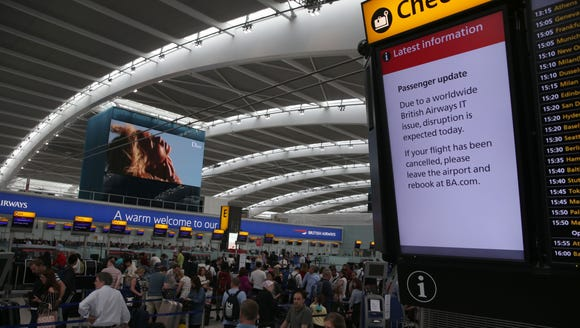 "A display warns passengers to ""Expect Disruption"" to"