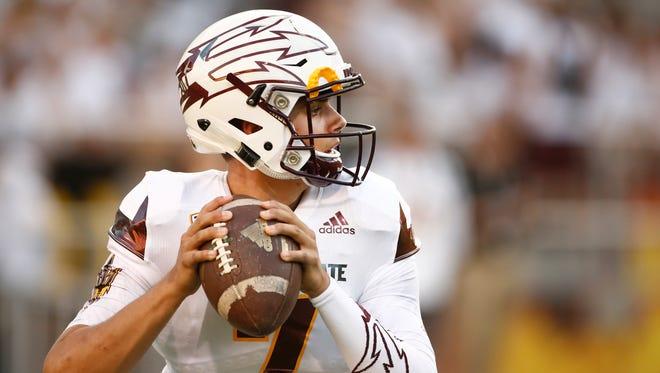 ASU's Brady White warms-up at Sun Devil Stadium on Sep. 18, 2015 in Tempe, AZ.