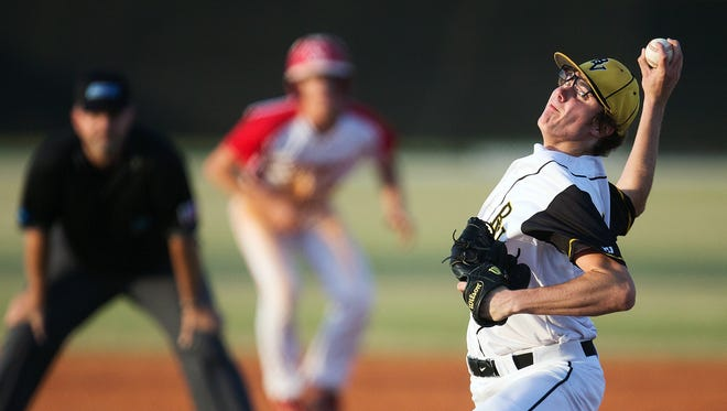 Bishop Verot's Drew Dwyer pitches against Cardinal Mooney in District 4A-5 baseball championship Friday at Bishop Verot High School in Fort Myers.