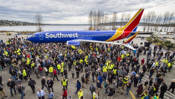 Thousands of Boeing employees at the Renton, Wash.,