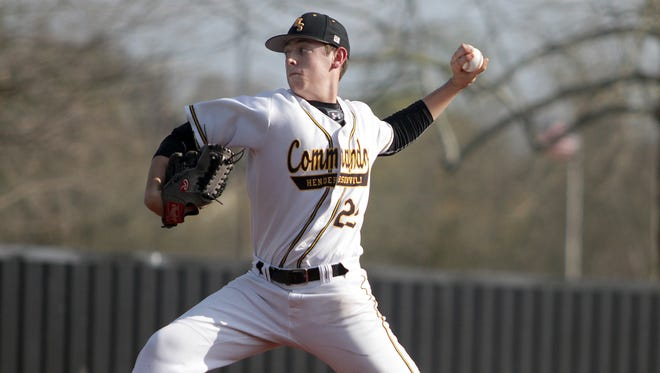 Hendersonville's Hayden Mullins works against Station Camp on Tues. April 3, 2018.  Photo by Dave Cardaciotto