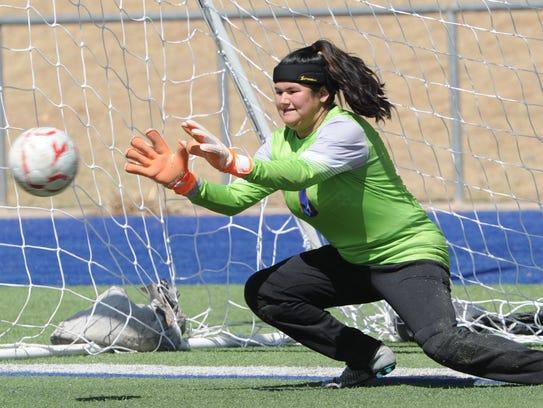 Cooper goalie Brandy Hagood on Jacqeuline Saenz's penalty