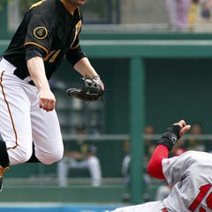 Aug 27, 2014; Pittsburgh, PA, USA; Pittsburgh Pirates second baseman Neil Walker (18) turns a double play over St. Louis Cardinals center fielder Jon Jay (19) during the second inning at PNC Park. Mandatory Credit: Charles LeClaire-USA TODAY Sports
