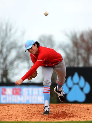 University School of Jackson's Ryan Rolison throws a pitch during Wednesday's game against Lexington. USJ defeated Lexington, 6-1.