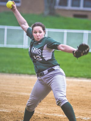 Gabi Mastrantuono delivers a pitch for the Spackenkill High School softball team against visiting Poughkeepsie on Friday.