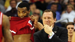 North Carolina State forward T.J. Warren (left) and coach Mark Gottfried react near the end of an NCAA tournament loss to Saint Louis in March.