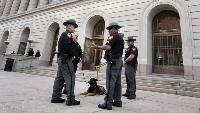 Sheriff's deputies, along with Knut, were part of the extra patrol for last Friday's pre-trial hearing for Ray Tensing.