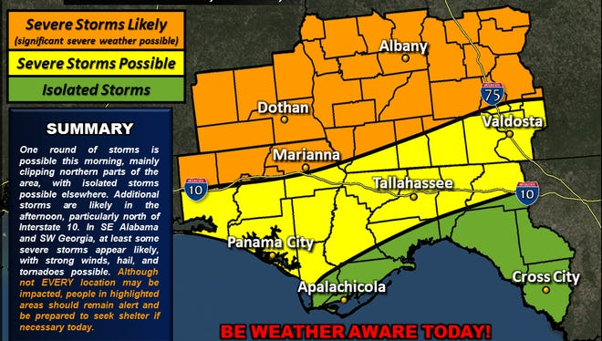 Strong storms are possible today across the entire area.