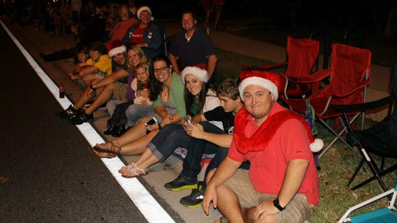 Waiting for the Christmas parade to start.