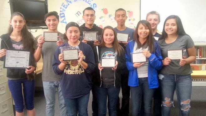 """Winners were named for 2016-2017 Ruidoso High School """"Native American Student of the Year"""" awards in various classes. The freshman class recipients were Lakeisha Rocha and Jerrion Garrett. Sophomore recipients were Kaytlyn Morgan and Mark Graves. Junior class winners were Devynee Palmer and Cisco Bob III. Senior Class awards went to Vanaya Morgan and Kolby Kane. Jacali Baeza also was recognized for perfect attendance for the entire 2016-17 school year."""
