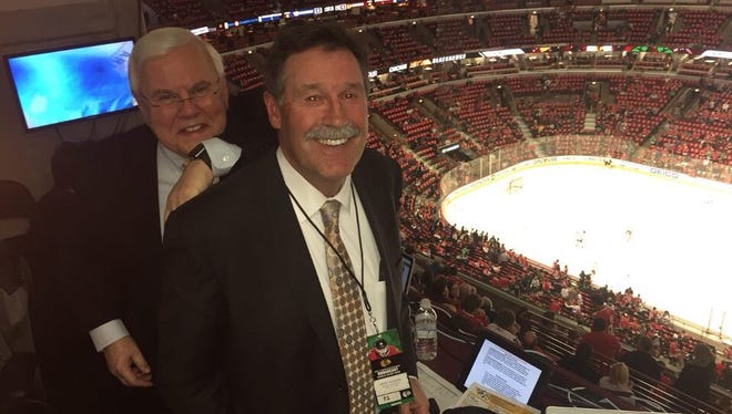 Brent Peterson, right, will be replaced in the Predators radio booth by former Predators defenseman Hal Gill.