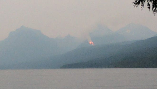 Lightning sparked multiple fires in Glacier National Park. This photograph was taken from the shores of Lake McDonald.